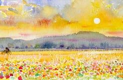 Ajardine la aptitud original de la familia de la pintura por la bicicleta y la puesta del sol del paseo Imagenes de archivo