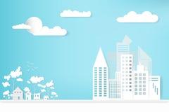 Ajardine la ciudad y la casa de la ciudad con el fondo de la nube del cielo crecimiento del concepto en el campo estilo de papel