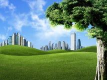 Ajardine la escena de la naturaleza contra edificios, indus Imagen de archivo