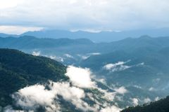 Ajardine la imagen de las colinas de la selva tropical del verdor en día de niebla con el cielo azul Imagenes de archivo