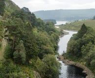 Ajardine la imagen que mira abajo al río que atraviesa el bosque adentro Imágenes de archivo libres de regalías