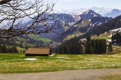 Ajardine la vista de la montaña de la nieve de las montañas con la tranvía eléctrica Imagen de archivo