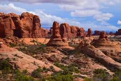 Ajardine las esculturas de las rocas en el parque nacional Utah de los arcos Fotografía de archivo libre de regalías