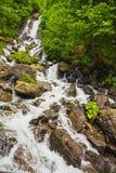 Ajardine na Abkhásia com cume e o rio caucasianos Fotos de Stock