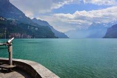 Ajardine na cidade próxima da região de Luzern do lago de Vitznau Foto de Stock