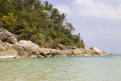 Ajardine na ilha de Koh Phangan, praia engarrafada, Tailândia Fotos de Stock Royalty Free