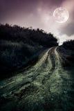 Ajardine na natureza da Lua cheia bonita com uma estrada enlameada thr Fotografia de Stock