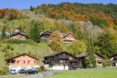 Ajardine na vila de Engelberg em Suíça Fotografia de Stock