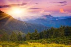Sol da noite nas montanhas Imagem de Stock Royalty Free