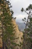 Ajardine nas montanhas com penhascos íngremes e névoa Imagens de Stock Royalty Free