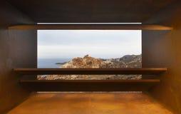 Ajardine no cabo de Creus com ponto de vista na costa mediterrânea S Imagem de Stock