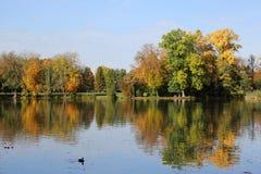 Ajardine no outono com árvores coloridas e um lago Fotografia de Stock Royalty Free