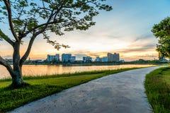 Ajardine no parque da cidade com o lago no fundo do por do sol Foto de Stock Royalty Free