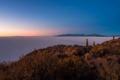 Ajardine no plano de sal de Uyuni durante o nascer do sol Fotografia de Stock Royalty Free
