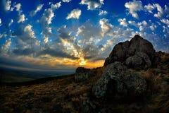 Ajardine no por do sol/nascer do sol - Dobrogea, Romênia Imagens de Stock Royalty Free