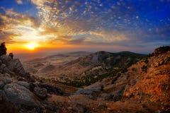 Ajardine no por do sol/nascer do sol - Dobrogea, Romênia Foto de Stock Royalty Free