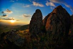 Ajardine no por do sol/nascer do sol - Pricopane, Dobrogea, Romênia Imagem de Stock Royalty Free