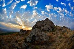 Ajardine no por do sol/nascer do sol - Pricopane, Dobrogea, Romênia Fotografia de Stock Royalty Free