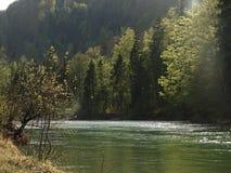 Ajardine no rio Isar perto da mancha do vale, Baviera Imagem de Stock Royalty Free