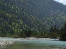 Ajardine no rio Isar perto da mancha do vale, Baviera Fotos de Stock Royalty Free