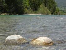 Ajardine no rio Isar perto da mancha do vale, Baviera Foto de Stock Royalty Free