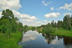 Ajardine no rio Oredezh em Vyritsa no verão Foto de Stock