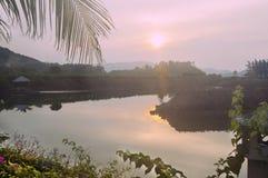 Ajardine o alvorecer cênico em Ásia, Nha Trang Vietname Fotografia de Stock