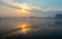 Ajardine, o alvorecer ensolarado, raios de sol na névoa Foto de Stock Royalty Free