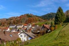 Ajardine o campo do outono com as casas da quinta de madeira no monte verde e em montanhas ásperas no fundo ~ ideia idílico do vi Imagens de Stock