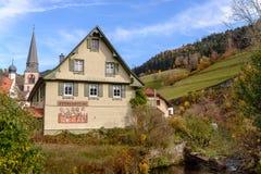 Ajardine o campo do outono com as casas da quinta de madeira no monte verde e nas montanhas no fundo, Alemanha Imagens de Stock