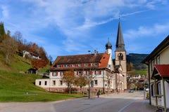 Ajardine o campo do outono com as casas da quinta de madeira no monte verde e nas montanhas no fundo, Alemanha Imagens de Stock Royalty Free