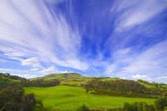 Ajardine o cenário do vale verde com árvores, monte e o céu nebuloso Foto de Stock Royalty Free