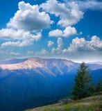 Ajardine o cume da montanha em um fundo do céu azul Imagens de Stock