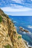 Ajardine o litoral Lloret de Mar, Costa Brava, Catalonia, Espanha Foto de Stock