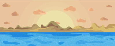 Ajardine o mar bonito em montanhas e em sol de um fundo Por do sol no mar Foto de Stock