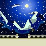 Ajardine o mar na noite o idílico e fabuloso Imagem de Stock