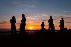 Ajardine o nascer do sol no Mountain View na montanha do dao do samer, província de Nan, Tailândia Imagem de Stock Royalty Free