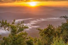 Ajardine o nascer do sol no Mountain View na montanha do dao do samer, província de Nan, Tailândia Foto de Stock