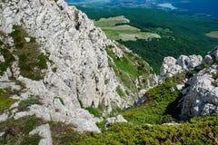Ajardine o olhar da parte superior de uma montanha foto de stock royalty free
