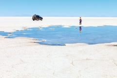 Ajardine o plano de sal de Uyuni, Bolívia Imagem de Stock Royalty Free