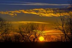 Ajardine o por do sol dramático e o céu do nascer do sol com uma silhueta de t Fotografia de Stock