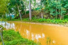 Ajardine o projeto de relaxam o jardim tropical com banco de rio Imagens de Stock