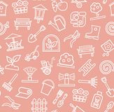 Ajardine o projeto, fundo, sem emenda, cor-de-rosa, contorno, vetor Imagens de Stock