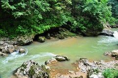 Ajardine o rio da montanha com as rochas grandes na costa Fotografia de Stock Royalty Free