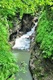 Ajardine o rio da montanha com as rochas grandes na costa Imagens de Stock