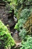 Ajardine o rio da montanha com as rochas grandes na costa no desfiladeiro de Guam Imagens de Stock Royalty Free