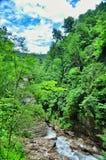 Ajardine o rio da montanha com as rochas grandes na costa no desfiladeiro de Guam Fotografia de Stock