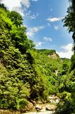 Ajardine o rio da montanha com as rochas grandes na costa no desfiladeiro de Guam Fotografia de Stock Royalty Free