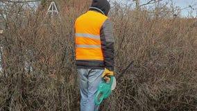 Ajardine o trabalhador com o cortador do arbusto perto do arbusto na mola filme