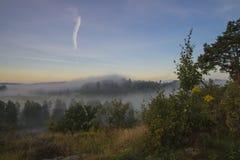 Ajardine, um amanhecer na névoa e nascer do sol Imagem de Stock